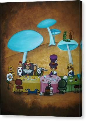 Alice In Wonderland Art - Mad Hatter's Tea Party I Canvas Print by Charlene Murray Zatloukal