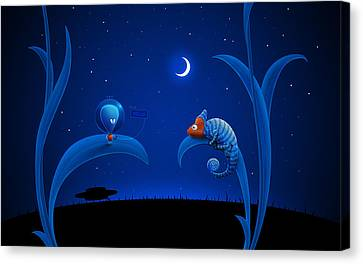 Alien And Chameleon Canvas Print by Gianfranco Weiss