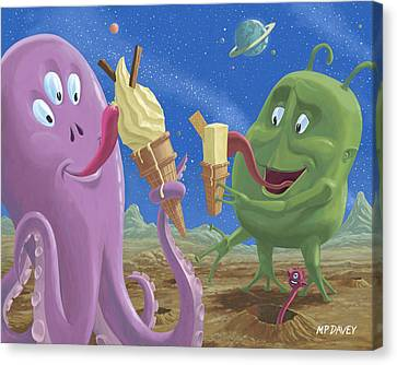Cartoon Canvas Print featuring the painting Alien Ice Cream by Martin Davey