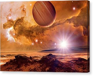 Alien Planet And Eagle Nebula Canvas Print by Detlev Van Ravenswaay