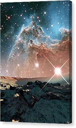 Alien Planet And Monkey Head Nebula Canvas Print by Nasa, Esa, And The Hubble Heritage Team (stsci/aura)/detlev Van Ravenswaay