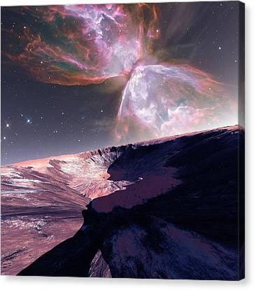 Alien Planet And Nebula Canvas Print by Detlev Van Ravenswaay