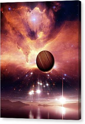 Alien Planets And Nebula Canvas Print by Nasa, Esa And Jes�s Ma�z Apell�niz (instituto De Astrof�sica De Andaluc�a, Spain)/detlev Van Ravenswaay
