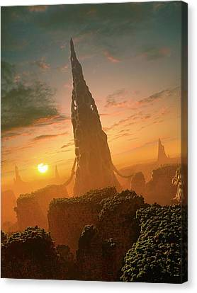 Alien Structures On An Extrasolar Planet Canvas Print by Mark Garlick