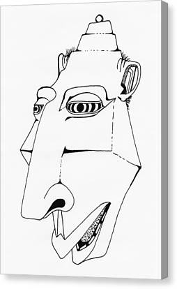 Alien Tiki Head Canvas Print by Ever Inward