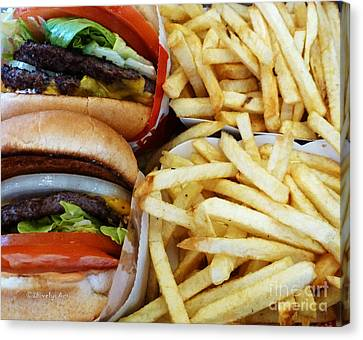 All American Cheeseburgers And Fries Canvas Print by Methune Hively