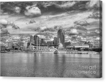 All American City 2 Bw Canvas Print by Mel Steinhauer