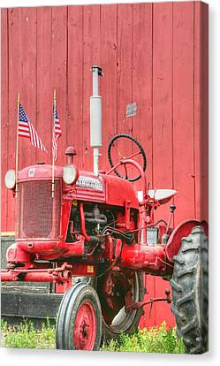 All American Red Tractor Canvas Print by Heather Allen