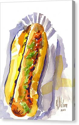 All Beef Ballpark Hot Dog With The Works To Go In Broad Daylight Canvas Print by Kip DeVore