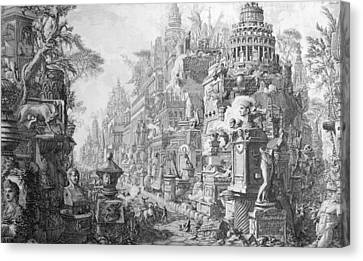 Allegorical Frontispiece Of Rome And Its History From Le Antichita Romane  Canvas Print by Giovanni Battista Piranesi
