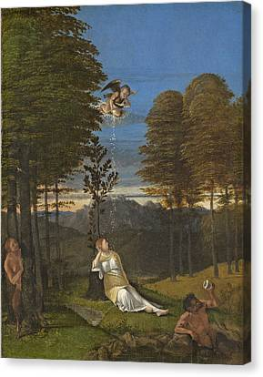 Allegory Of Chastity, C. 1505 Oil On Panel Canvas Print by Lorenzo Lotto