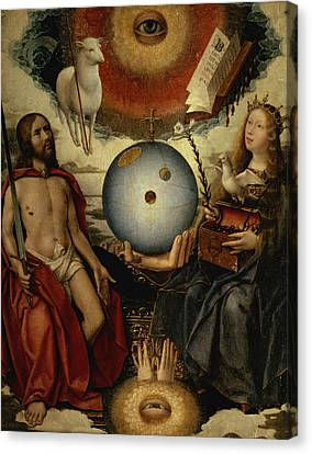 Allegory Of Christianity Oil On Panel Canvas Print by Jan II Provost