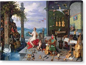 Allegory Of Music Oil On Canvas Canvas Print by Jan the Elder Brueghel