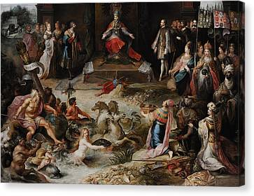 Allegory Of The Abdication Of Emperor Charles V In Brussels, C.1630-1640, By Frans Francken Canvas Print by Bridgeman Images