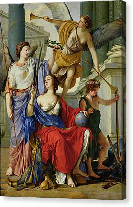 Allegory Of The Regency Of Anne Of Austria 1601-66 1648 Oil On Canvas Canvas Print by Laurent de La Hire or La Hyre