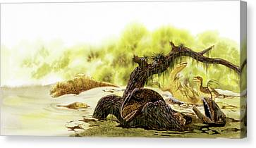 Allosaurus Dinosaurs Drowning Canvas Print by Deagostini/uig