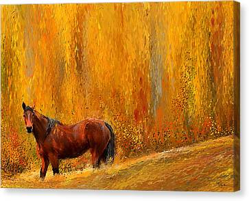 Alone In Grandeur- Bay Horse Paintings Canvas Print by Lourry Legarde