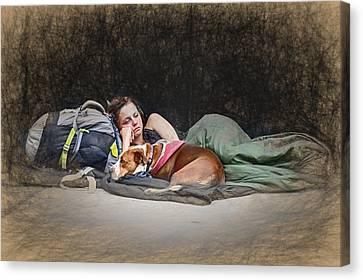 Alone With Her Dog Canvas Print by John Haldane