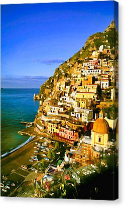 Along The Amalfi Coast Canvas Print by Cliff Wassmann