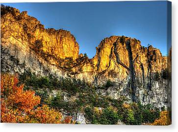 Alpenglow At Days End Seneca Rocks - Seneca Rocks National Recreation Area Wv Autumn Early Evening Canvas Print by Michael Mazaika