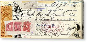 Altered Check 1923 Canvas Print by Carol Leigh