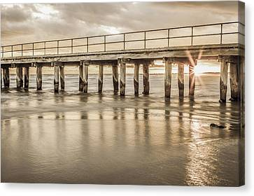 Altona Pier In Sepia Canvas Print by Shari Mattox