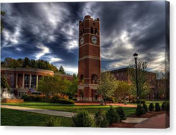 Alumni Tower-wcu Canvas Print by Greg and Chrystal Mimbs