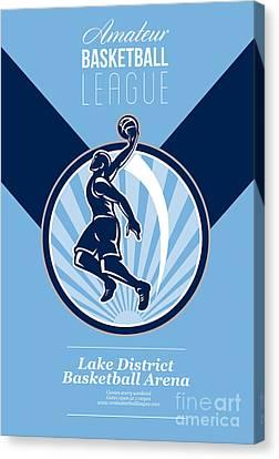 Amateur Basketball League Retro Poster Canvas Print by Aloysius Patrimonio