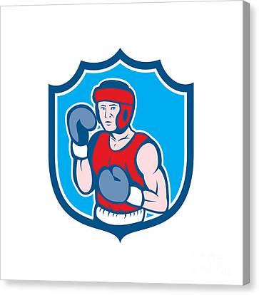 Amateur Boxer Stance Shield Cartoon Canvas Print by Aloysius Patrimonio