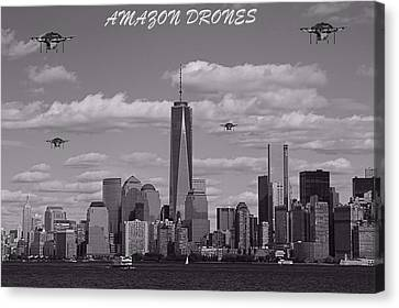 Amazon Drones In New York City Canvas Print by Dan Sproul