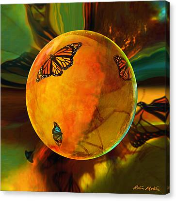 Ambered Butterfly Orb Canvas Print by Robin Moline