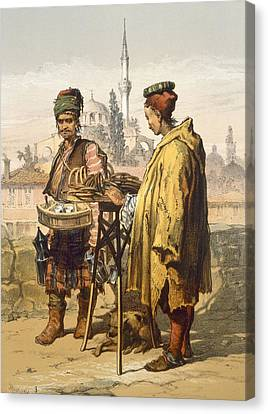 Ambulant Snack Sellers, 1865 Canvas Print by Amadeo Preziosi