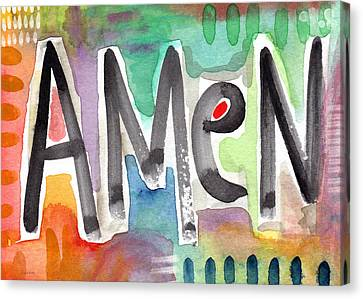 Amen Greeting Card Canvas Print by Linda Woods