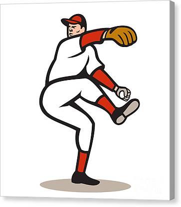 American Baseball Pitcher Throwing Ball Cartoon Canvas Print by Aloysius Patrimonio