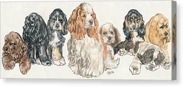 American Cocker Spaniel Puppies Canvas Print by Barbara Keith