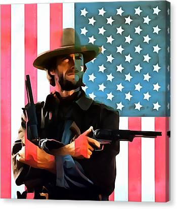 American Cowboy Clint Eastwood Canvas Print by Dan Sproul