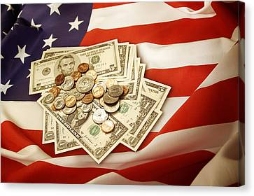 American Currency  Canvas Print by Les Cunliffe