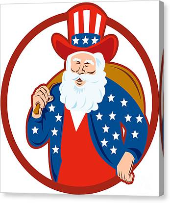American Father Christmas Santa Claus Canvas Print by Aloysius Patrimonio