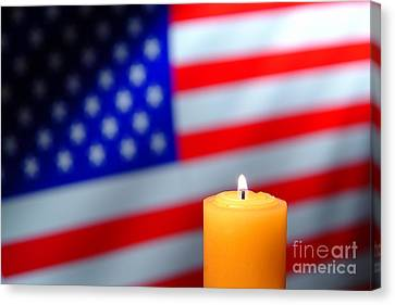 American Flag And Candle Canvas Print by Olivier Le Queinec