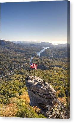American Flag At Chimney Rock State Park North Carolina Canvas Print by Dustin K Ryan