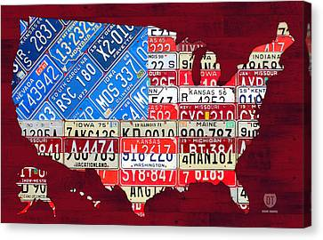 American Flag Map Of The United States In Vintage License Plates Canvas Print by Design Turnpike