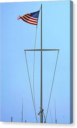 American Flag On Mast Canvas Print by Ben and Raisa Gertsberg