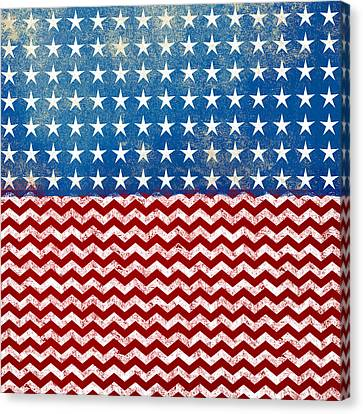 American Flag Red White Blue Canvas Print by Flo Karp
