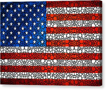 American Flag - Usa Stone Rock'd Art United States Of America Canvas Print by Sharon Cummings