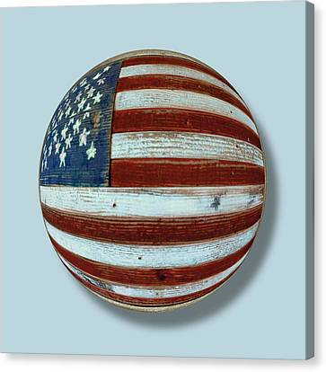 American Flag Wood Orb Canvas Print by Tony Rubino