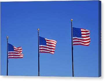 American Flags - Navy Pier Chicago Canvas Print by Christine Till