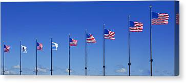 American Flags On Chicago's Famous Navy Pier Canvas Print by Christine Till