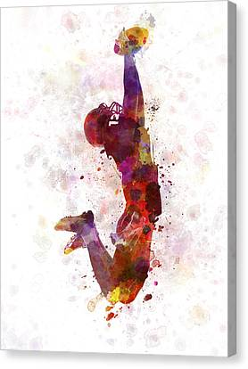 American Football Player Catching Ball  Silhouette Canvas Print by Pablo Romero