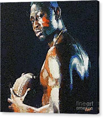 American Football Player Canvas Print by Dragica  Micki Fortuna