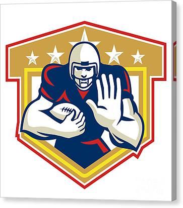 American Football Running Back Fending Shield Canvas Print by Aloysius Patrimonio